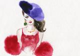 beautiful woman. fashion illustration. watercolor painting - 225448857