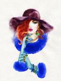 beautiful woman. fashion illustration. watercolor painting - 225448886