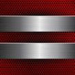 Red metal perforated background with brushed steel plates