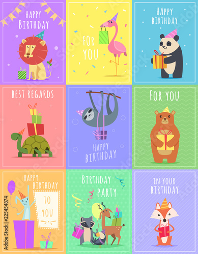 Birthday Cards With Animals Wildlife Zebra Turtle Lion And Monkey