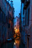 Narrow canal in Venice at  twilight , Italy. - 225456205