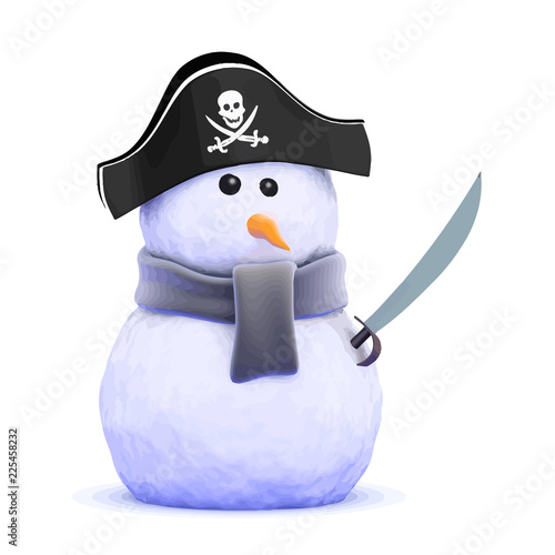 Vector 3d Pirate snowman with cutlass