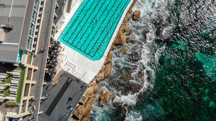 Aerial overhead view of Bondi Beach Pools area, Australia