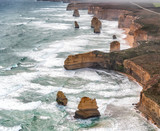 The Twelve Apostles aerial view on a cloudy and foggy afternoon, Great Ocean Road, Australia - 225464071