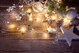 Christmas decoration in vintage style at old wooden board - 225467491