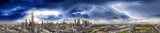 Melbourne, Australia. Sunset aerial panorama of city skyline during a storm - 225469066
