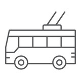 Trolleybus thin line icon, transport and public, traffic sign, vector graphics, a linear pattern on a white background.