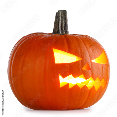 Leinwanddruck Bild Halloween Pumpkin on white