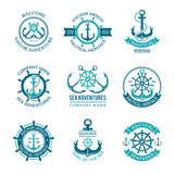 Marine logo. Nautical vector emblem with ship anchors and steering wheels. Cruise boat sailor monochrome symbols for badges. Illustration of nautical ship emblem, anchor marine logo