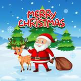 Santa and deer in snow - 225473073