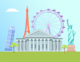 Eiffel Tower and Capitol Set Vector Illustration