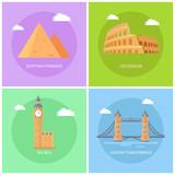 Egyptian Pyramids Big Ben Vector Illustration - 225476413
