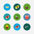 Sushi icons set. Unagi nigin and sushi icons with maguro nigiri, ikura roll and soup. Set of tradition for web app logo UI design.