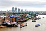 London Skyline Canary Wharf and The River Thames England