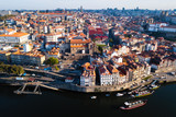 Top view of Ribeira and Douro river, old Porto city centre, Portugal.