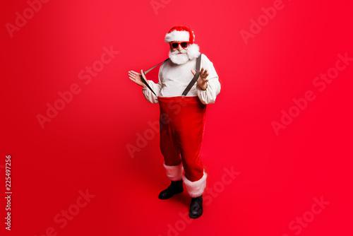 Leinwanddruck Bild Full length body size of cheerful positive optimistic glad Santa