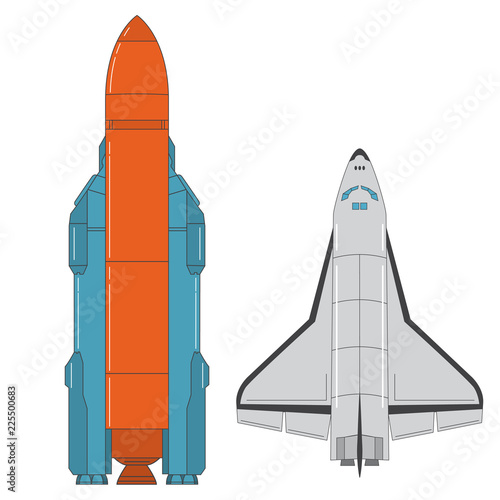Fototapeta Space shuttle. Missile launch. Concept design an icon rocket. Flat line art vector.Rocket launch.A design element for a game.Aerospace ship.