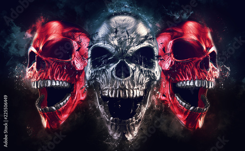 Screaming metal demon skulls - neo thrash style - 3D Illustration