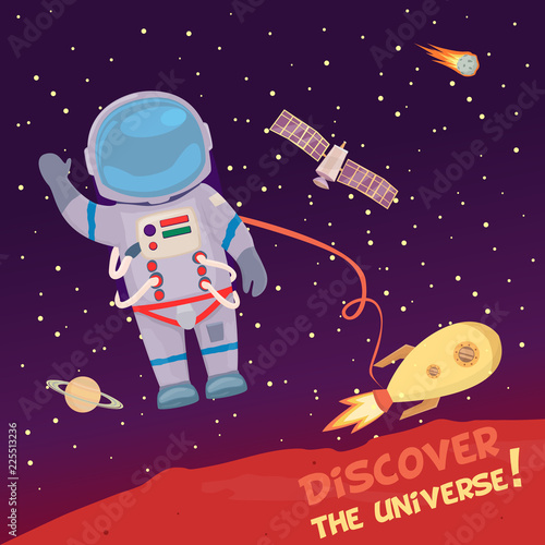 Fototapeta Astronaut floating in space with ship