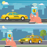 Booking taxi with mobile app - 225513836