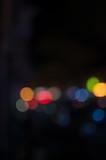 Abstract city night defocused light, blur bokeh, colorful & dark background. Dreamy, bubble, backdrop & street. - 225517029