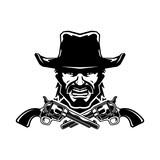 Cowboy mascot. Illustration isolated on background. Vector illustration, eps 10. - 225517618