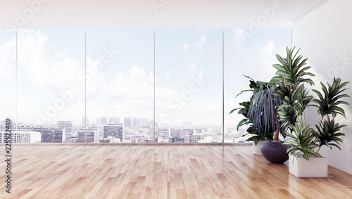 Leinwandbild Motiv large luxury modern bright interiors apartment Living room with sofa and windows 3D rendering illustration computer generated image