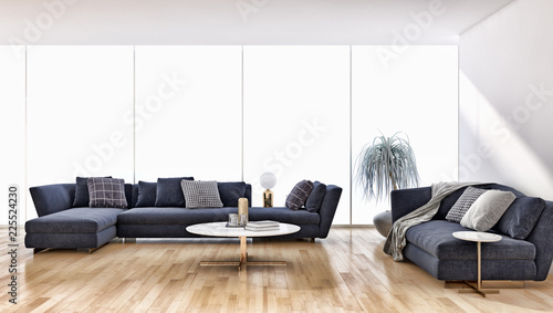 large luxury modern bright interiors apartment Living room with sofa and windows 3D rendering illustration computer generated image - 225524230