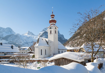 Austrian village in the alps, Lofer, Austria