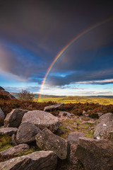 Rainbow at Harbottle Crags / Above the village of Harbottle which lies in Coquetdale inside the Northumberland National Park, within the Cheviot Hills © drhfoto