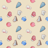 seamless pattern with watercolor cookies