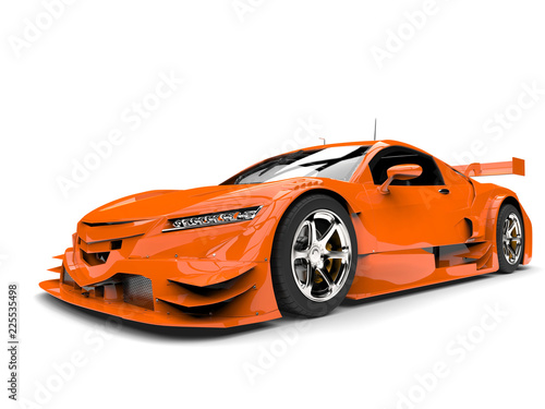 Modern orange race sports car - front closeup shot