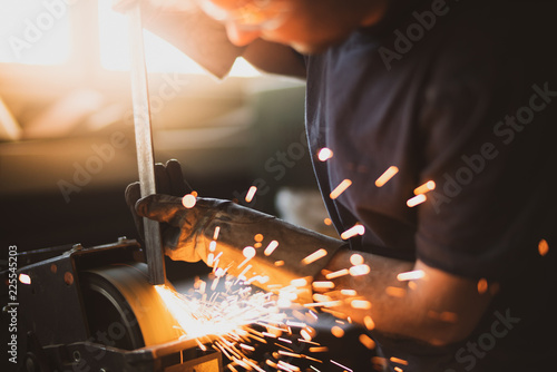 Grinding steel with lot of sparks © guteksk7