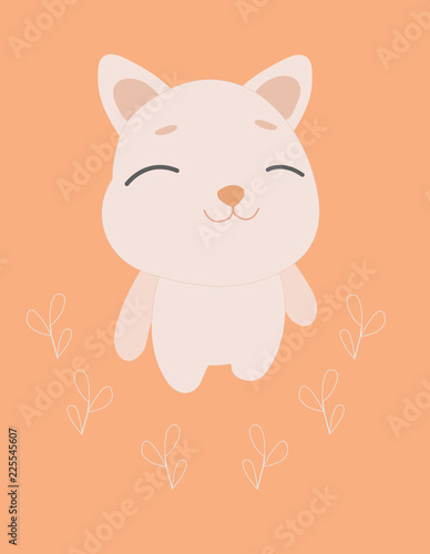 Postcard cartoon cute puppy, with eyes closed. Illustration for children. perfect for shirt print or cards design