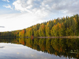 Colorful nature image, wallpaper. Reflection on the water, autumnal forest. - 225546480