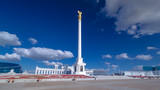 View of the Kazakh Eli Monument timelapse hyperlapse on Independence Square in Astana, the capital of Kazakhstan.