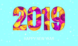 2019 New Year on Light Blue Background with Snowflakes - 225550671
