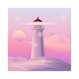 Vector sea landscape with lighting lighthouse at sunset. - 225555211