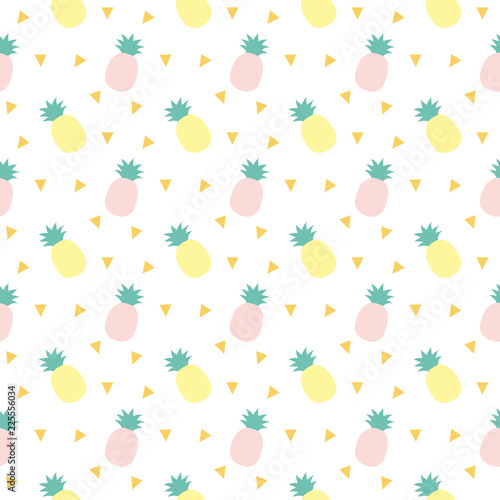 Vector seamless pattern with pineapples. Cute Tropical summer fruit background. - 225556034