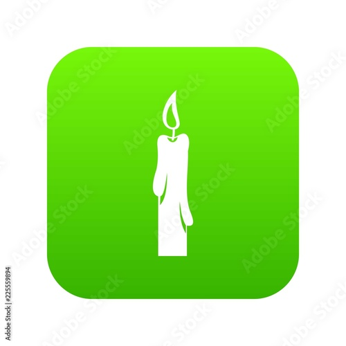 Candle icon digital green for any design isolated on white vector illustration