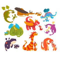 Mature dragons and baby dragons set, families of mythical animals cartoon characters vector Illustration on a white background