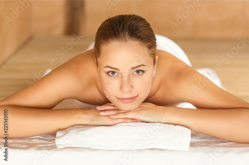 Leinwandbild Motiv Young woman relaxing in spa.Healthcare and beauty concept.