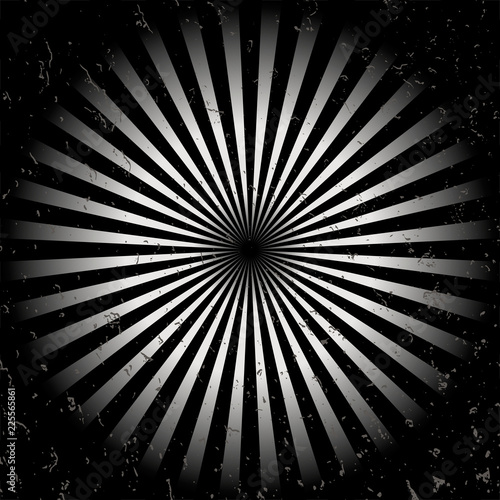 Fototapeta Geometric optical illusion black and white circle with rays isolated on a white background. Vector illustration