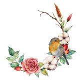 Watercolor wreath with robin and cotton. Hand painted tree border with rose, dogrose berries and leaves isolated on white background. Illustration for design, fabric or background. - 225566090