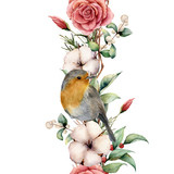 Watercolor vertical border with robin and flowers. Hand painted tree border, cotton, branch, dahlia, berries and leaves, lagurus isolated on white background. Illustration for design or background. - 225568067