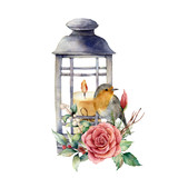 Watercolor lantern with candle and robin. Hand painted traditional holiday decor, lantern with rose and plant isolated on white background. For design or print. - 225568079