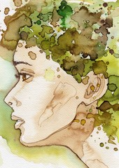 Watercolor illustration, portrait of a woman. © bruniewska