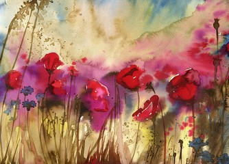 Beautiful watercolor paintings that bring flowers to wages, poppies © bruniewska