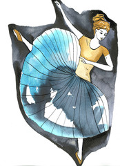 Illustration of a dancing woman © bruniewska