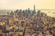 View of Manhattan from the top angle at sunset. New York City view from the top. New York City with skyscrapers at sunset. Skyline of Manhattan in New York City, United States. Aerial view of New York